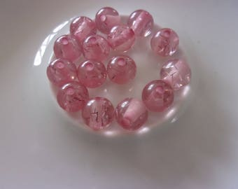 Set of 5 pink sequined resin round beads - 9mm