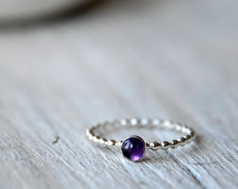 Sterling Silver Amethyst Stacking Ring, beaded, stackable 4mm cabochon, Made To Order