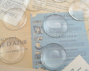 25 Glass Cabochons 30mm - Clear Round Magnifying Dome Cabs - For Cameo Pendants, Photo Jewelry, Rings Necklaces - 1 3/16 inch