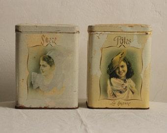 Deux charmant Français Vintage pots étain / Époque Vintage