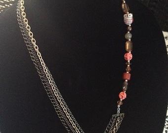 Litze Collier, Perlen Eule Halskette, handgemachte eins einer Art Halskette mit einer Eule-Perlen Felicianation Creations