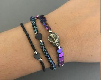 Cosmic Galaxy Bracelet Stack, Heart Bracelet Stack, Lisa Frank Jewelry, Delicate Bracelets, 90s Jewelry