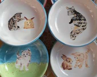 Kitty cat ceramic bowl kitten bowl, animal lovers pottery functional colorful animal pet dishes feline cat dish pasta bowl cereal bowl gift