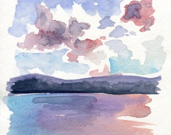 6x6 Original Watercolor Painting - Berkshires