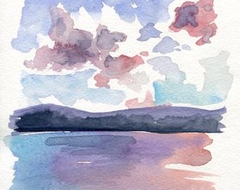 6x6  - Berkshires - Original Watercolor Painting