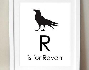 R ist für Raven 8 x 10 Art Print personalisierte Baby Kinder Kinderzimmer Dekor