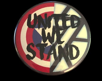 Button Pin Marvel Captain America Civil War Iron Man United We Stand Shield 2.25