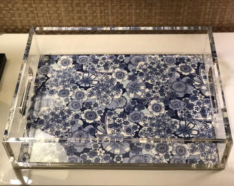 Blue & White Lucite Tray, Chinoiserie
