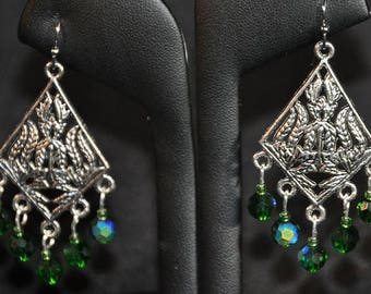 Silver Chandelier Earrings with Green Swarovski Crystals