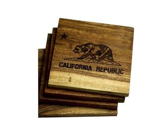 California Republic Coasters - Set of Four Engraved Acacia Wood Coasters