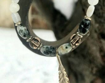 Sterling Silver Feather and Gemstone Beaded Bracelet with Green Moss and Banded Agate, Smoky Quartz and Moonstone