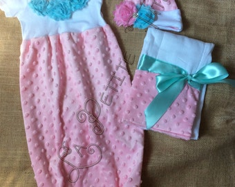 Going home outfit, newborn outfit, newborn clothing, baby clothing, clothing, infant clothing, infant outfit, baby outfit, gown, hat