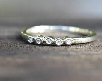 Diamond wedding ring, ethical wedding band, engagement ring, anniversary ring, white gold palladium, ring for her, simple band,  handmade