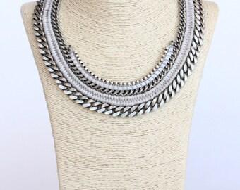 JAMARRAYA silver chain statement necklace
