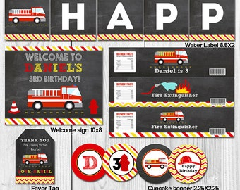 Firefighter Chalkboard Printable party package, Fire Truck party decorations, Firetruck personalized printable pack, Fireman party pack PDF