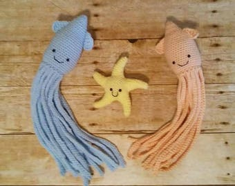 Squid Plush Toy, Squid Stuffed Animal Plushie, Sea Creature Squid, Squid Amigurumi Animal, Cephalopods, Ocean Sea Creature, Nautical