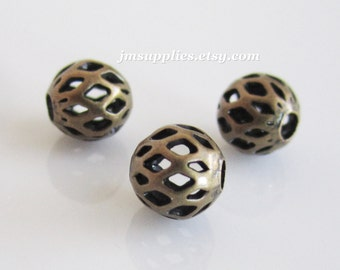 Bead, Antique Gold 6mm Cut Out Round (50)