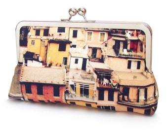 Houses clutch bag, silk purse, Italian village, rooftops, CINQUE TERRE