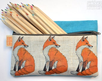Fox Illustration Linen Zipper Pencil Pouch / Makeup Bag / Pencil Case, Fox Gift