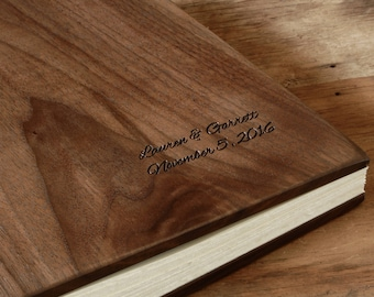 wood wedding photo album scrapbook - custom engraved Black Walnut - anniversary family retirement memorial gift -  large  - made to order