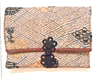 Oriental Print Purse: Clutch With Oriental Clasp, Upcycled Antique Fabric