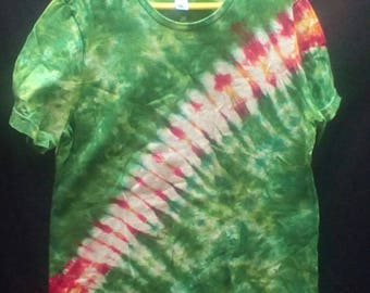 Hand Dyed Tie dye women's medium t-shirt stripe in fire red, yellow, lime green and forest green American apparel brand