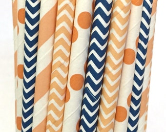 2.85 US Shipping -Peach and Navy Paper Straws - Chevron Stripe - Peach and Navy Straws - Cake Pop Sticks - Drinking Straws