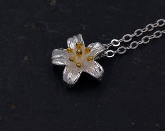 Sterling Silver Little Lily Flower Blossom Pendant Necklace  - Cute and Sweet - 16'' - 18'' H90