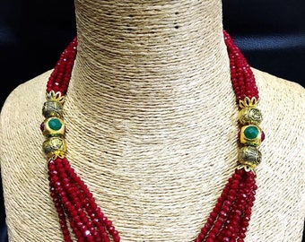 Indian Kundan Necklace, Crystal Beads Mala, Indian Beads Mala,Indian Jewelry,Bridal Jewelry,Bollywood,Indian Wedding Jewelry,Bridal Necklace