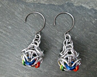 Chainmaille Earrings - Rainbow Earrings - Rainbow Chainmaille - Chainmail Jewelry - Dangle Earrings - Pride Earrings