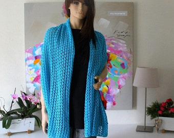 SCARF / STOLE turquoise Cotton