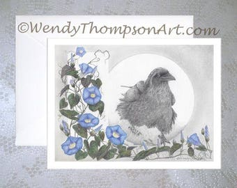 Morning Glorious - CARD with envelope, Raven and heavenly blue Morning Glory, feathers dew drops, wildflower blue vines, fantasy nature art