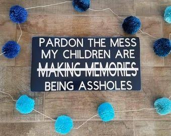 "Hand painted wood sign ""making memories"""