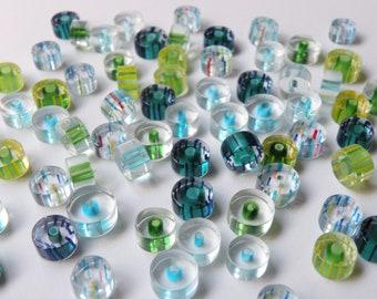 35 Furnace Cane Glass Round Circle Beads cobalt light blue green yellow red 8-10mm K580420R