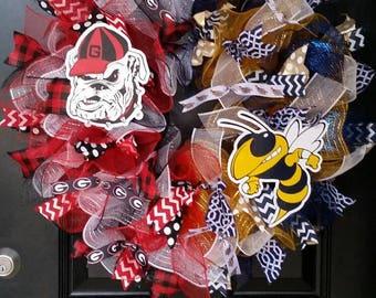 House Divided Wreath Mesh Wreath Georgia Bulldogs Wreath Georgia Tech Yellow Jackets Wreath Burlap Ribbon Wedding Shower Gift Team Wreath