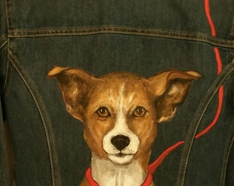 hand painted jack russell on quality recycled jean jacket