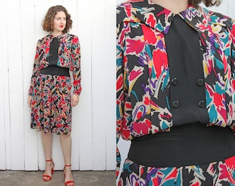 Vintage 80s Dress | 80s Albert Nipon Silk Floral Print Dress with Pleats and Pockets | Medium M