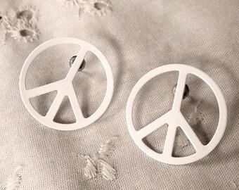 1970's White Enamel Peace Sign Pierced Post Earrings