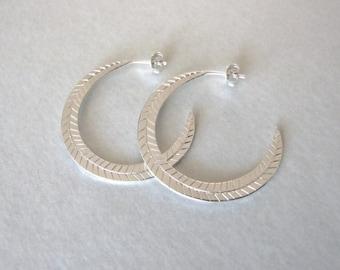Statement Hoop Earrings - silver earrings , hoop earrings , feather earrings , statement earrings , gift for her