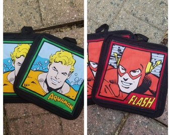 Justice league character pot holders