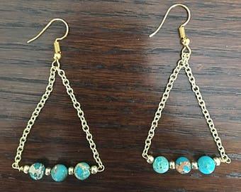 Healing earrings, Boho earrings, 12k gold plated earrings, Sea Sediment Jasper handmade earrings