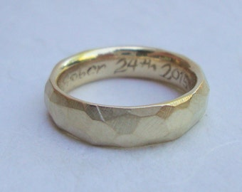 Mens rustic rough gold wedding band in solid 14k yellow gold