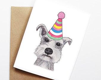 Birthday Card - Schnauzer, Dog Birthday Card, Cute Birthday Card, Dog Card, Bday Card, Kids Birthday Card, Friend Birthday Card