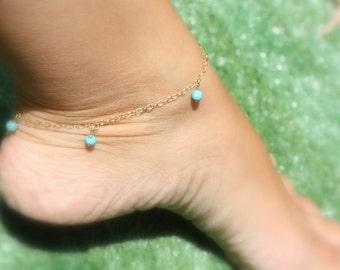 Turquoise anklet / Rose gold anklet / Gold filled anklet / Gold anklet / Bridesmaid anklet / Best Friend anklet / Beach wedding