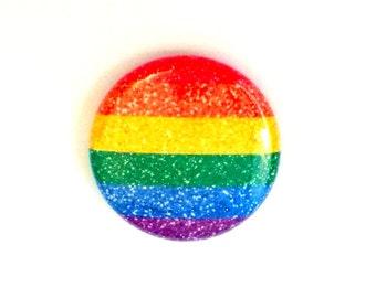 "1"" Glitter Gay Pride Button | Lesbian Pride Magnet | Gay Pride Button | Gay Pride Magnet | LGBT Pride Button | LGBT Button | Rainbow Glitter"