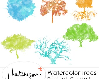 Commercial Use Instant Download Watercolor Trees Clip Art graphics - transparent background