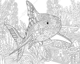 Ocean World. Shark and Treasure Chest. Coloring Pages. Animal coloring book pages for Adults. Instant Download Print