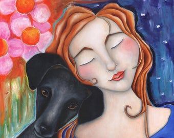 """Dog Girl  PRINT of Original Art  Print offered in three sizes """"TRANQUILITY""""  Dachshund, black Dog, Love, Archival, doxie,"""