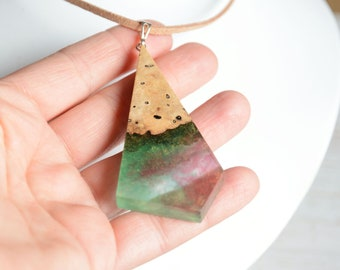 Statement green pink resin and wood necklace, wooden pendant made from reclaimed burl wood, woodland forest inspired jewelry