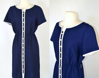1960s Dark Blue Shirtwaist, A-line, Tea Length Dress, Nautical, White Stripes